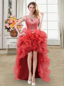 Affordable Straps Coral Red Sleeveless Beading and Ruffles High Low Homecoming Dress