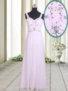 Straps Floor Length Zipper Prom Dress Pink for Prom with Beading