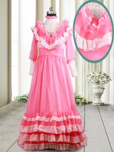 Beading and Lace and Ruffled Layers Evening Dress Pink Zipper Long Sleeves Brush Train