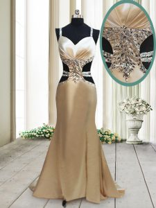 Discount Mermaid Straps Champagne Sleeveless Beading Criss Cross Prom Gown
