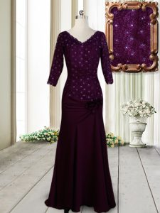 Half Sleeves Zipper Prom Gown Dark Purple Elastic Woven Satin