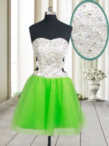 A-line Sweetheart Sleeveless Tulle Mini Length Zipper Beading and Sequins Prom Party Dress