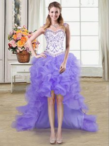Straps Sleeveless Organza Celeb Inspired Gowns Beading and Ruffles Lace Up