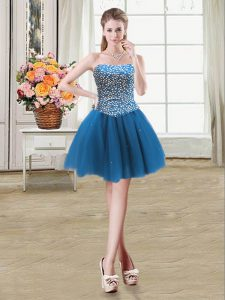 Noble Ball Gowns Prom Dress Teal Sweetheart Tulle Sleeveless Mini Length Lace Up
