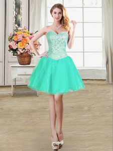 Turquoise Lace Up Evening Dress Beading and Ruffles and Pick Ups Sleeveless Mini Length