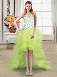 Organza Straps Sleeveless Lace Up Beading and Ruffles Prom Party Dress in Yellow Green