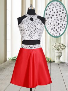Customized White And Red Halter Top Neckline Beading Sleeveless Criss Cross