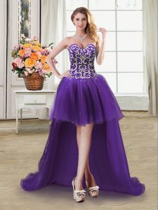 Purple Tulle Lace Up Sweetheart Sleeveless High Low Beading and Sequins
