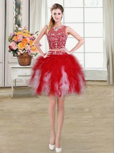 Fancy Scoop Red Tulle Zipper Prom Dress Sleeveless Mini Length Beading and Ruffles