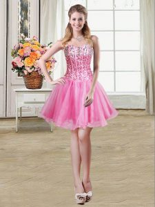 Customized Mini Length Lace Up Evening Dress Rose Pink for Prom and Party with Sequins