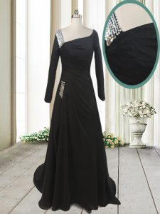 Asymmetric Long Sleeves Chiffon Prom Gown Beading Sweep Train Side Zipper