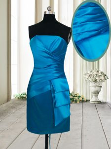 Teal Column/Sheath Satin Strapless Sleeveless Ruching Mini Length Lace Up Prom Evening Gown