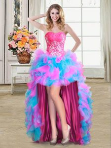 Multi-color Zipper Prom Dress Beading and Ruffles Sleeveless High Low