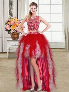 Ball Gowns Prom Dresses Red Scoop Tulle Sleeveless High Low Zipper