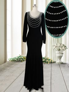 Black Scoop Backless Beading Prom Party Dress Long Sleeves