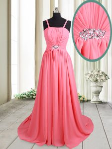 Pink Lace Up Straps Beading Chiffon Sleeveless Brush Train