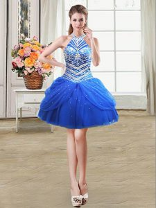 Custom Designed Royal Blue Lace Up Halter Top Beading and Pick Ups Prom Dresses Tulle Sleeveless
