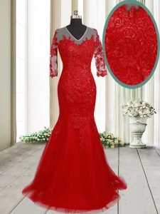 Fitting Mermaid Clasp Handle With Train Red Evening Dress Tulle Brush Train Half Sleeves Lace