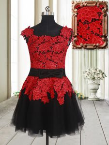 Beautiful Red And Black Homecoming Dress Prom and Party with Appliques Square Sleeveless Zipper