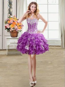 Beading and Sequins Prom Evening Gown Eggplant Purple Lace Up Sleeveless Mini Length