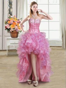 Excellent High Low Pink Prom Dresses Organza Sleeveless Sequins