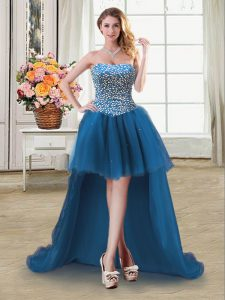 Teal Ball Gowns Tulle Sweetheart Sleeveless Beading High Low Lace Up Celebrity Evening Dresses