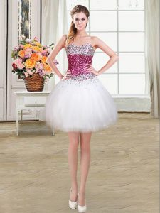 Inexpensive Ball Gowns Prom Dresses White Sweetheart Tulle Sleeveless Mini Length Lace Up