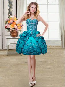 Teal Sweetheart Lace Up Beading and Embroidery and Pick Ups Dress for Prom Sleeveless
