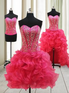 Eye-catching Hot Pink Sweetheart Lace Up Beading Prom Dresses Sleeveless