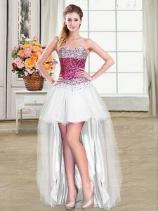 White Sleeveless Tulle Lace Up Prom Gown for Prom and Party