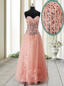 Stunning Tulle Sleeveless Ankle Length Prom Evening Gown and Beading