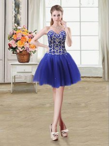 Fabulous Sweetheart Sleeveless Prom Evening Gown Mini Length Beading and Sequins Royal Blue Tulle