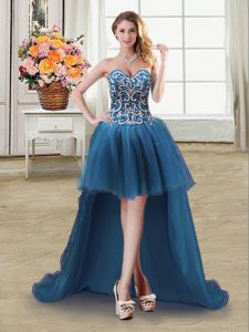Elegant Sequins Ball Gowns Prom Party Dress Teal Sweetheart Tulle Sleeveless High Low Lace Up