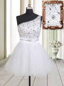 On Sale White Prom Dress Prom and Party with Beading One Shoulder Sleeveless Zipper