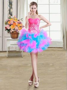 Gorgeous Multi-color Sleeveless Organza and Tulle Zipper Homecoming Dress for Prom and Party