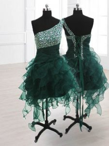 Custom Design One Shoulder Sleeveless Beading and Ruffles Lace Up Dress for Prom