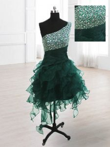 One Shoulder Sleeveless Evening Dress Knee Length Beading and Ruffles Peacock Green Organza