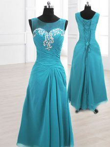 Floor Length Teal Celebrity Dress Scoop Sleeveless Lace Up
