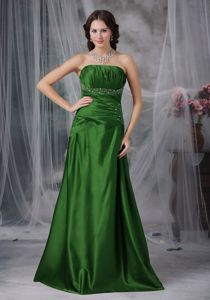 up-To-Date Strapless Beaded Green Formal Prom Dress for Winter in Style