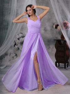 Cheap Chiffon Straps Ruched Slitted Lavender Dress for Prom under 150