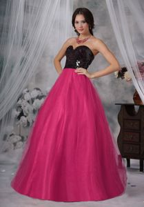 Popular Princess Sweetheart Long Hot Pink and Black Prom Gown with Paillette