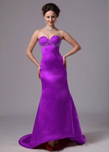 Hot Sale Lace-up Sweetheart Beaded Eggplant Purple Prom Dress for Celebrity 2013