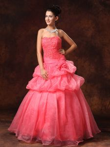 Voguish Pick-ups A-line Appliqued Watermelon Red Prom Gown in Las Vegas