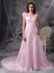 Noble V-neck Appliqued Ruched Baby Pink Prom Dress with Flowers Court Train