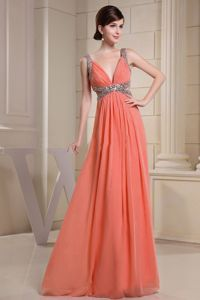 Fashionable Straps Beaded Orange Red Maxi Prom Dresses in Fallon NV