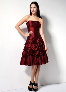Strapless Taffeta Burgundy Short Prom Dresses with Pick-ups in Las Vegas