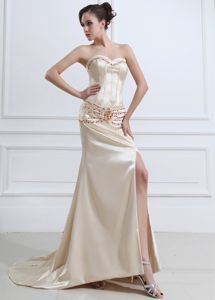 Champagne Beaded Prom Dresses with High Slit and Court Train in Moab