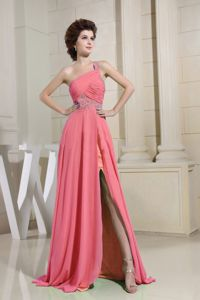 One Shoulder and Beaded in Watermelon Prom Dress with High Slit