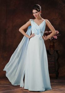 Light Blue V-neck Chiffon Beaded Prom Gown Dresses in Lewisville TX
