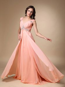 Chiffon Beaded Straps Prom Dress with Court Train in Watermelon